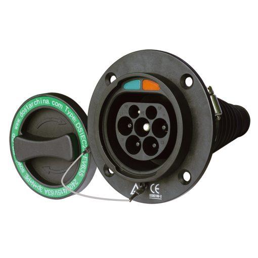 töltő csatlakozóaljzat Type 2 (IEC-62196), AC, 16 A, + 1 m narancs kábel