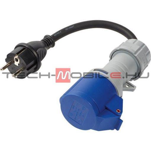 elektromos autó töltőkábel - csatlakozó adapter, ipari aljzat 1×32A - shucko dugó 1×16A